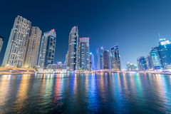 Dubai - JANUARY 10, 2015: Marina district on Royalty Free Stock Photography