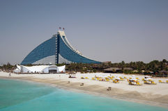 Dubai Jumeirah Beach Hotel. Jumeirah Beach Hotel and its Beach Resort Stock Photo