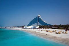 Dubai Jumeirah Beach Hotel. Jumeirah Beach Hotel and its Beach Resort Stock Photos
