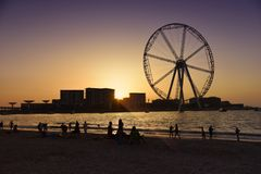 Dubai wheel at sunset. Dubai Jumeirah beach, UAE. Travel destination Stock Images