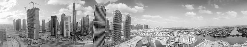 Dubai Jumeirah Lake Towers. Amazing panoramic aerial view of cit Royalty Free Stock Photos