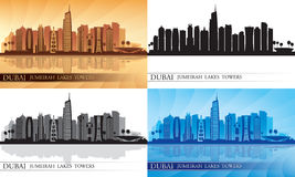 Dubai Jumeirah Lakes Towers skyline silhouette Set Stock Image