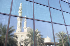 Dubai,Jumeirah Mosque Reflected In Modern Office Stock Photo