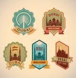 Dubai labels. Set of retro-styled Dubai city tour labels. Editable vector illustration Stock Photography