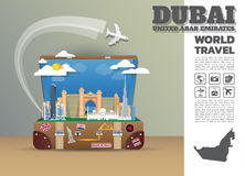 Dubai Landmark Global Travel And Journey Infographic luggage.3D. Design Vector Template.vector/illustration. can be used for your business, advertisement or Stock Images
