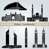 Dubai landmarks and monuments. On blue background in editable vector file Stock Images