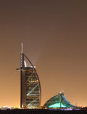 Dubai landmarks at night Stock Photo