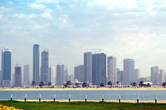 Dubai landscape. Line of skyscrapes in Arab Emirates Royalty Free Stock Images