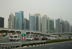 Dubai in a light haze Royalty Free Stock Photography