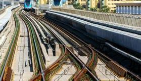 Dubai Lines Metro. Dubai Metro Network line on the urban landscape UAE, architecture subway systems royalty free stock photography