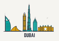 Dubai linjer vektor illustrationer