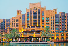 Dubai Luxury Hotel. An evening shot of the Mina Salam Hotel at the Madinat Jumeirah in Dubai royalty free stock image