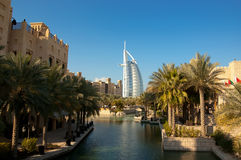 Dubai luxury resort. The luxury resort of Madinat Jumeirah with the Burj Al Arab in the distance Stock Image