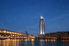 The Dubai Mall and The Address Hotel at Dusk Stock Images