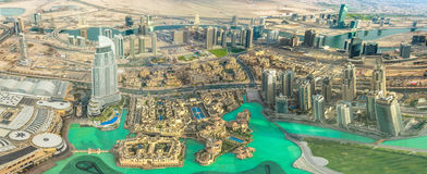 Dubai Mall aerial view. Aerial view of Dubai Mall, Dubai Fountain and Burj Khalifa Lake area in Dubai downtown, United Arab Emirates, from top Royalty Free Stock Photos