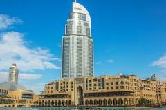 Dubai Mall area. Dubai, United Arab Emirates - May 1, 2013: the Address Hotel and the Souk Al Bahar in Dubai Mall area and in the Burj Khalifa Lake. Popular Stock Images