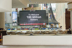 Dubai Mall. Big sign with the total number of visitors in the Dubai Mall. Dubai, United Arabic Emirates Stock Photos