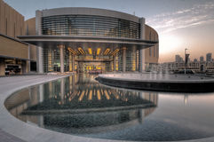 Dubai Mall, Dubai City.UAE. Foot of the tallest building in the world the Burj Dubai. Hygh dynamic range technique used combining 5 photos to increase details Royalty Free Stock Photography
