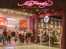 Dubai Mall in Dubai, UAE. Ed Hardy store at Dubai Mall in Dubai, UAE. The Dubai Mall is the world's largest shopping mall based on total area and thirteenth Royalty Free Stock Images
