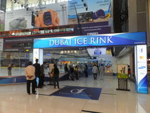 Dubai Mall in Dubai, UAE. Dubai Ice Rink at Dubai Mall in Dubai, UAE. The Dubai Mall is the world's largest shopping mall based on total area and thirteenth Royalty Free Stock Images