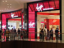 Dubai Mall in Dubai, UAE. Virgin Megastore at Dubai Mall in Dubai, UAE. The Dubai Mall is the world's largest shopping mall based on total area and thirteenth Stock Photo