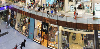 Dubai Mall, a top view of the inside, boutiques and shops, peopl Stock Image