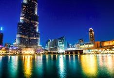 Dubai-Mall und der Dubai-Brunnen Lizenzfreies Stockfoto