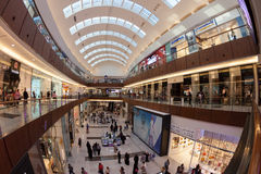 The Dubai Mall. Is the world's largest shopping mall based on total area and sixth largest by gross leasable area. It is located in Dubai, United Arab Emirates Royalty Free Stock Photography