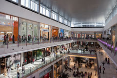 The Dubai Mall. Is the world's largest shopping mall based on total area and sixth largest by gross leasable area. It is located in Dubai, United Arab Emirates Royalty Free Stock Image