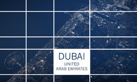 Dubai map, satellite view, United Arab Emirates Royalty Free Stock Images