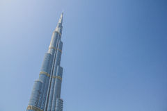 DUBAI- MARCH 21, 2013: Burj Khalifa tower taken on March 21, 2013 in Dubai, United Arab Emirates. DUBAI- MARCH 21, 2013: Full view of Burj Khalifa tower taken on Stock Photography