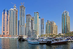 Dubai Marina. Boats and skyscrabers in the Dubai Marina area Stock Image