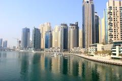 Dubai marina. Yaght bay view morgning Royalty Free Stock Photography