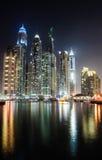 Dubai marina. Tall buildings and the reflections on dubai marina Royalty Free Stock Photos