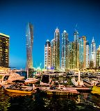 Dubai Marina. DUBAI, UAE - DECEMBER 14: View of the region of Dubai - Dubai Marina is an artificial canal city, carved along a two mile (3 km) stretch of Persian stock images