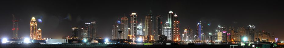 Dubai Marina. Stitched Panorama of the newest part of the city of Dubai Royalty Free Stock Images