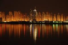 Dubai Marina. Night View of Dubai marina, Snap from palm island dubai,light reflection Royalty Free Stock Image