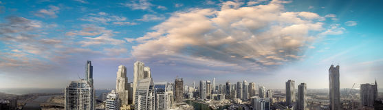 Dubai Marina aerial panoramic view at sunset, UAE Stock Photography