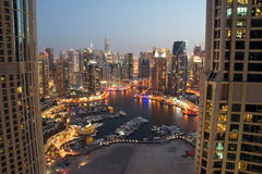 Dubai Marina. Is an awe-inspiring city-within-a city that delights residents with its cosmopolitan, free-spirited atmosphere and unique, invigorating lifestyle Stock Images