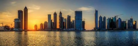 Dubai Marina bay, UAE. Panoramic view of Dubai Marina bay, UAE Royalty Free Stock Images