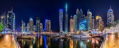 Dubai Marina bay, UAE. Panoramic view of Dubai Marina bay, UAE Stock Images