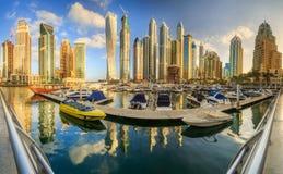 Dubai Marina bay, UAE. Panoramic view of Dubai Marina bay, UAE Royalty Free Stock Photo