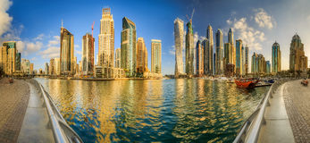 Dubai Marina bay, UAE. Panoramic view of Dubai Marina bay, UAE royalty free stock photo