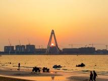 Dubai marina. Beach at sunset emirates Stock Images