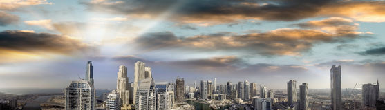 Dubai Marina. Beautiful panoramic aerial view at sunset Stock Photo