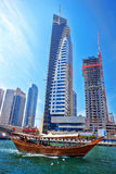 Dubai Marina with boat in United Arab Emirates Royalty Free Stock Images