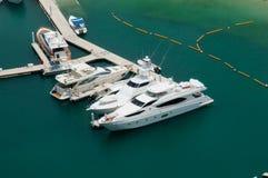 Dubai Marina Boats. Luxury Boats berthing in a Dubai Marina stock photos