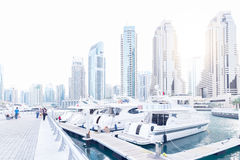 Dubai Marina with boats Royalty Free Stock Images