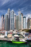 Dubai marina with boats in  United Arab Emirates Stock Images