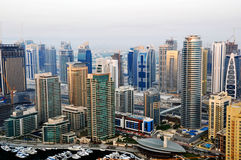 Dubai Marina Buildings. A high level view of the Marina showing luxury buildings and towers Royalty Free Stock Photos